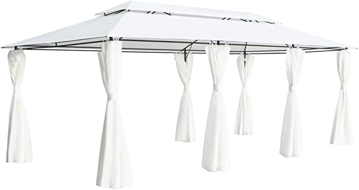 Gazebo da giardino con tende bianco,gazebo per esterno con tende,gazebo impermeabile 600x298x270 cm NBP9126031535020UI
