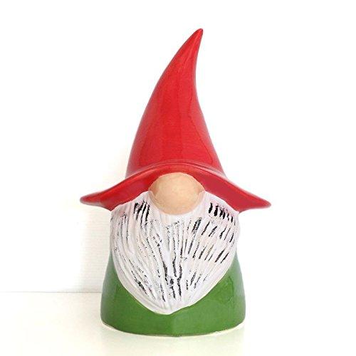 tangoo Céramique Statue de jardin Lutin Vert avec bonnet rouge, hauteur 30 cm