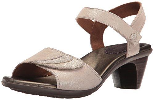 Aravon Women's Medici Heeled Sandal, Metallic, 7.5 B US