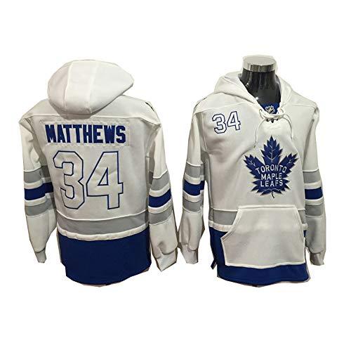 Yajun Kapuzen Pullover Hoodie NHL Auston Matthews#34 Toronto Maple Leafs T-Shirt Colorblock Sweatshirt Langärmlige Eishockey Trikots mit Tasche,White-34,3XL
