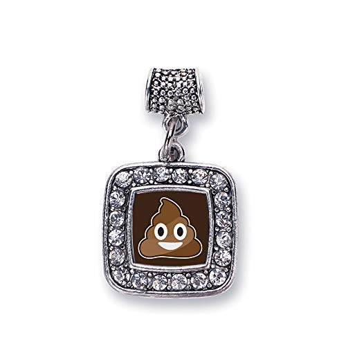 Inspired Silver - Poop Emoji Memory Charm for Women - Silver Square Charm for Bracelet with Cubic Zirconia Jewelry