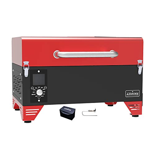 ASMOKE Portable Pellet Grill - AS300 - Electric Smoker Grill with Smart Meat Probe - Camping BBQ w/ 256 Sq. In Cooking Area - Small Pellet Grill with Waterproof Cover - Red