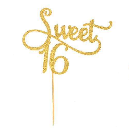 Oblique Unique® Torten Kuchen Topper Aufsatz Sweet 16 Geburtstag Deko - Gold mit Glitzereffekt Muffin Cupcake Dekoration