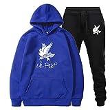 Sudaderas con Capucha de Rapero Love Fashion Sport Hip Hop Sudadera Pocket Pullover Tops Set Azul/Negro