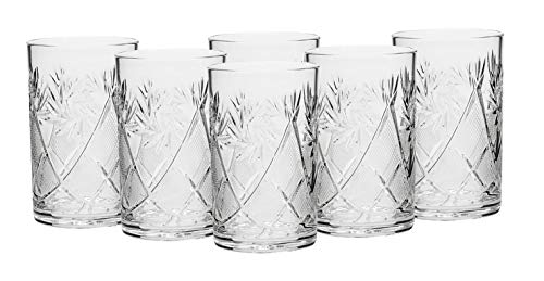 """Russian Collection SET of 6 x 8.5 oz. Traditional Cut Crystal Drinking Glasses, fits metal Glass Holder""""Podstakannik"""", Tempered for Hot and Cold Liquids, Vintage Design"""