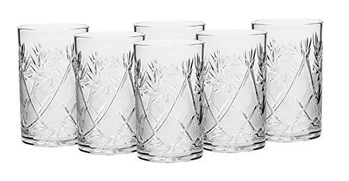 """Ruso colección Set de 6x 8,5oz. tradicional Cut Crystal vasos, compatible con soporte de metal y vidrio """"Podstakannik para líquidos calientes y frías templado,"""", diseño vintage"""