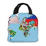Bag hat Weltkarte Fahnen Portable Insulated Lunch Arbeiter Studenten Einfache und Elegante tragbare Isolierung Lunch