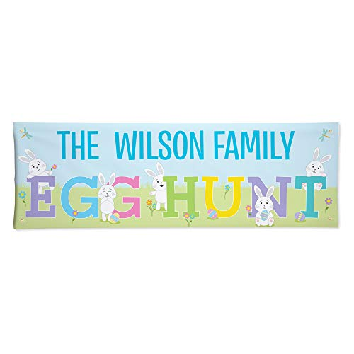"""Let's Make Memories Personalized Easter Egg Hunt Banner - Indoor/Outdoor Easter Banner - Customize with Message - 24""""H x 72""""L"""