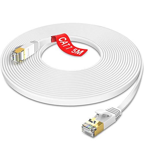 GLCON Cat7 Netzwerkkabel 5m High Speed Ethernet Kabel 600 MHz 10000 Mbit/s Flach LAN Kabel Kompatibel mit Switch/Router/Modem/Patch-Panel Weiß