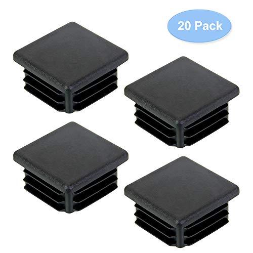 DECARETA 20 Stück Rohrstopfen 30x30MM Lamellenstopfen Kunststoff Fußkappen Schwarz Quadratstopfen für Quadratrohr Vierkantrohr