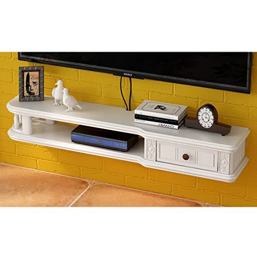 ZHEN GUO TV Console Drijvende TV Stand Muur Gemonteerd Houten Media Plank Onder Kast Opslag W/Lade, Drijvend Entertainment Center voor Kabelboxen/WiFi Routers/Afstanden/DVD Spelers