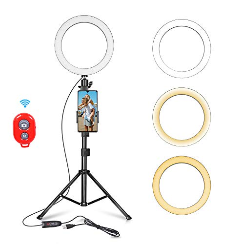 Emart 10-inch Selfie Ring Light with Adjustable Tripod Stand & Cell Phone Holder for Live Stream,...