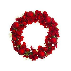 Arcadia Silk Plantation 38″ Amaryllis/Cedar/Ball Wreath Red