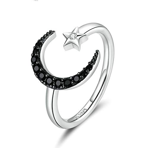 JIARU 925 Sterling Silver Ring for Women Adjusatable ring fashion simple ring and mysterious star and moon rings for Girl Open Finger Ring Gift