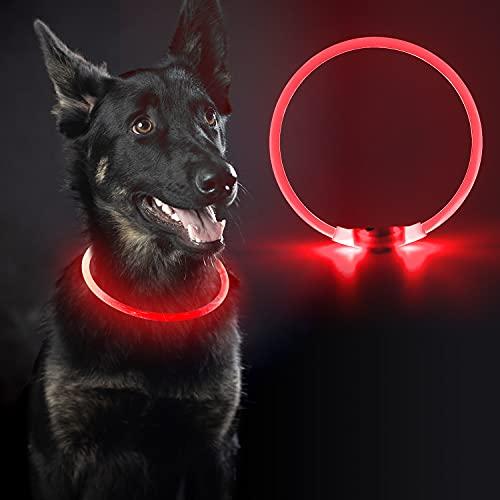 LED Leuchthalsband,Sicherheit Halsband für Hunde Aufladbar Hundehalsband Leuchtend,5 Farben,Passform für alle Hunde-mach deinen Hund sicher&gesehen,leuchthalsband für Klein Mittlere Große Hunde,Rot