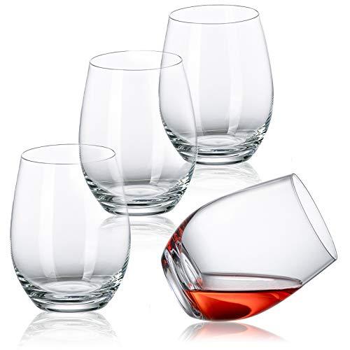 タンブラー クリスタルガラス クリア 450ml ワイングラス 赤/白ワイン シャンパン ジュース グラス ロックグラス 4個セット