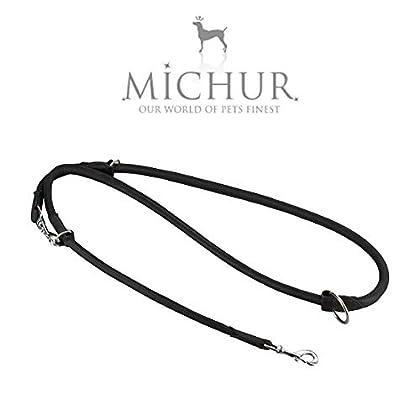 Michur Santiago Schwarz eine weiche und starke Hundeleine aus Leder / Lederleine für Hunde! Das Modell: Santiago Braun, die Hundeleine aus Leder hat eine Gesamtlänge vom 2m bei einer Breite von 1,0cm. Es handelt sich hierbei um eine Rundleine die ver...