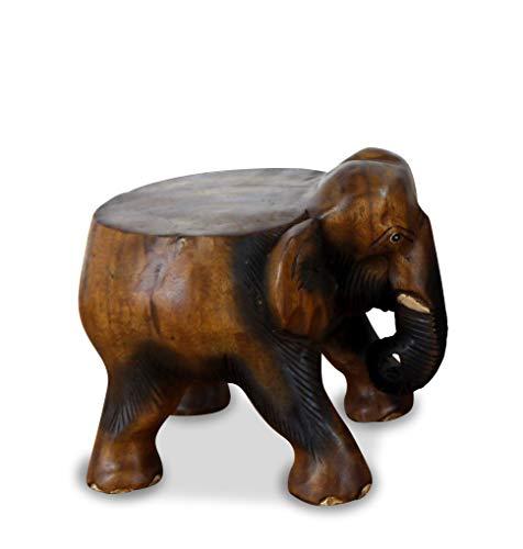 livasia Elefant aus Holz, Flacher Rücken, Blumenhocker, Sitzhocker, Podest (Kleiner Elefant)