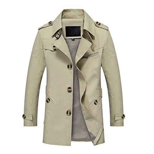 OJKYK Trenchcoat Für Herren Einreiher Softshell Jacke Herbst Lang Slim Fit Übergangsjacke Mantel Bussiness Funktionsjacke,XL