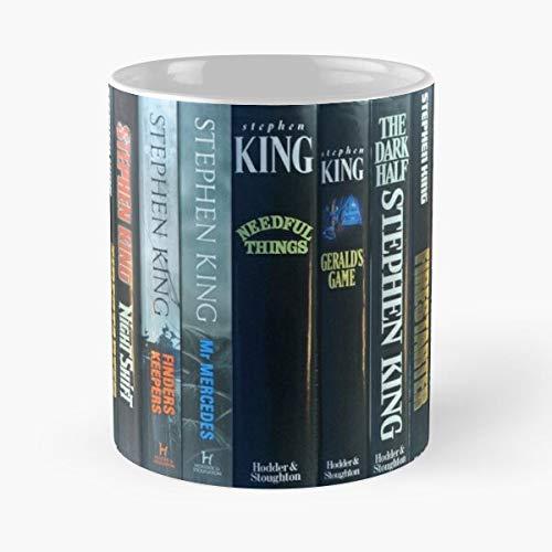 Novels Spines Stories King Books Horror Fiction Stephen Taza de café con Leche 11 oz