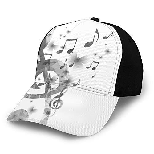 FULIYA Gorra de béisbol de bajo perfil ajustable para hombre y mujer, con G-Clef Key Instrument monocromo creativo rítmico adornado