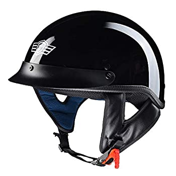 AHR RUN-C Half Face Helmet DOT Approved Bike Cruiser Chopper High Gloss Black XL