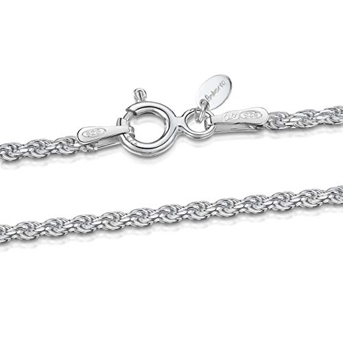 925 Sterling Silver 1.5 mm Twisted French Rope Chain Necklace Size: 16 18 20 22 24 inch / 40 45 50 55 60 cm (20inch/50cm)