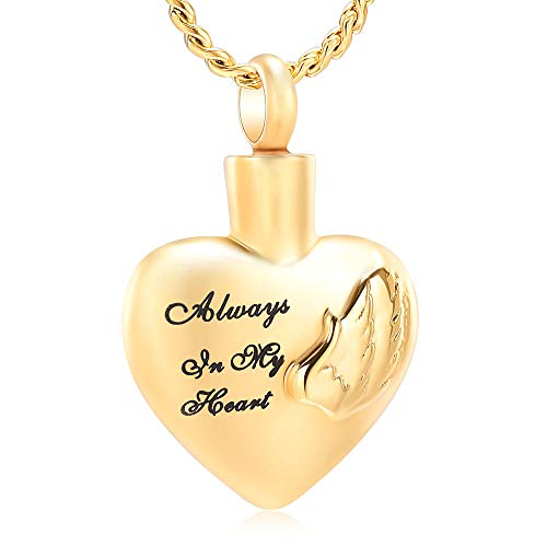 Imrsanl Cremation Jewelry for Ashes for Family Urn Necklace Pendants Ashes Keepsake Memorial Ash Jewelry for Loved Ones (Always in My Heart-Gold)