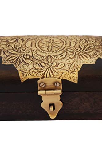 Orientalische kleine Aufbewahrungsbox mit Deckel Bindu 23cm groß | Orientalischer Schmuckkästchen für Mädchen und Damen zur Schmuckaufbewahrung | Marokkanische Schatulle Box aus Holz - 3