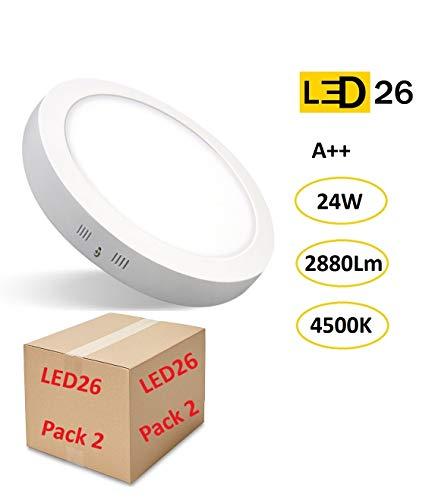 PACK DE 2 Plafones de Techo LED 24W 2880lm Blanco Neutro 4500k Redondo Superficie Panel LED Iluminacion Para Sala de Estar, Comedor, Dormitorio, Oficina, Tienda