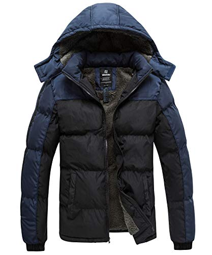 Wantdo Men's Fleece Jacket Thicken Padded Winter Coat with Hood Black&Blue L