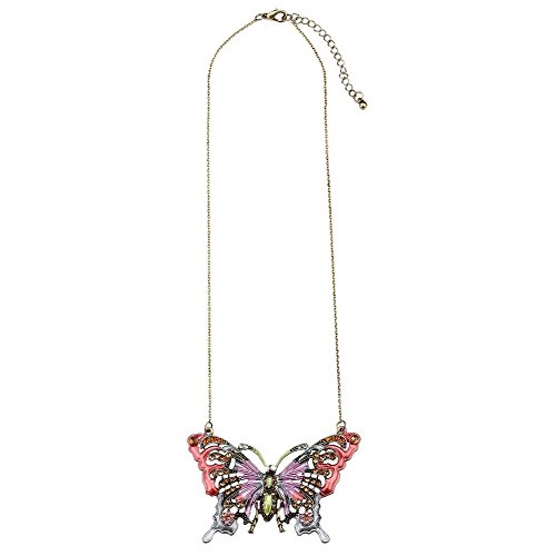 JOE COOL Necklace with A Pendant Large Pastel Butterfly Made with Zinc Alloy & Crystal Glass
