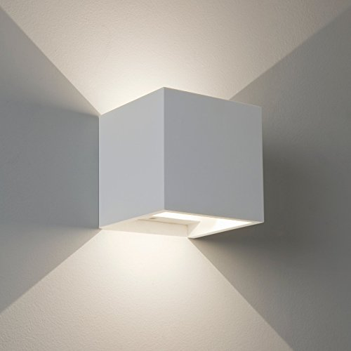 Aplique LED cubo con ángulo luz ajustable Up Down blanco moderno impermeable...