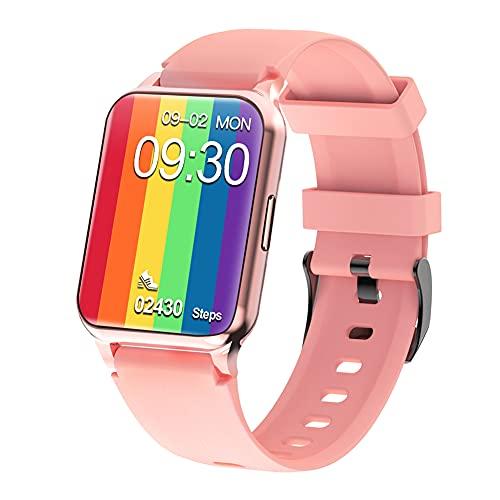 Fitness Tracker – Reloj de seguimiento de actividad con monitor de presión arterial, F30L Smart Watch de 1,65 pulgadas, música deportiva, monitor de sueño, pulsera para Android IOS (rosa)