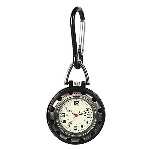Ansteck-Quarzuhr mit Sekundenzeiger für Männer und Frauen, leuchtet im Dunkeln, Rucksack-Schnalle, Gürtel-Uhr für Ärzte, Krankenschwestern, Köche, Wandern oder Klettern a