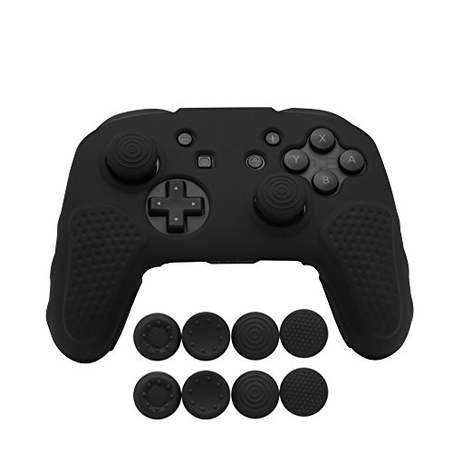 CHINFAI Silicone Case Grip for Nintendo Switch Pro Controller with 4 Pair/8 Pcs Thumbstick Caps, (Black)