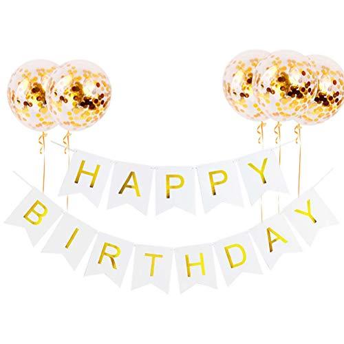 nuoshen Glitzer Happy Birthday Girlande, Gold Geburtstag Party Deko Set Happy Birthday Girlande und 5 Stücke Goldene Paillettenballons Ballons Banner Set für Geburtstag Partys Dekorationen