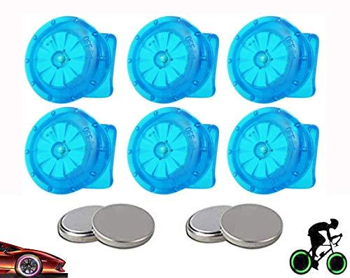 Yinch 6 Stück LED Fahrrad Rad Lichter Fahrradfelgen Lichter Speichenlicht Wasserdicht/Stoßfest Coole Bunte Dekorationslichter/Ventilkappen Beleuchtung für MTB Radreifen Nachtfahrten (Blau)