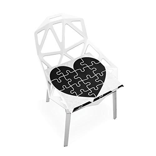 LORONA Herz Puzzle Porträt Emotion Sitzkissen Stuhlkissen Memory Foam Pads für gesundes Sitzen zu Hause, Büro, Küche, Rollstuhl, Essen, Patio, Camping | Quadrat 16 'x 16'