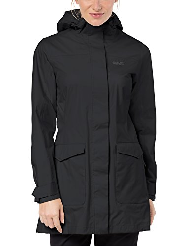 Jack Wolfskin Women's Crosstown Raincoat, Black, Large