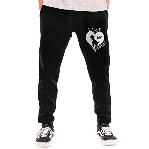 I Love My Pitbull Sweatpants Jogger Pant Men Fleece Sweatpants for Outdoor Cycling Running Black