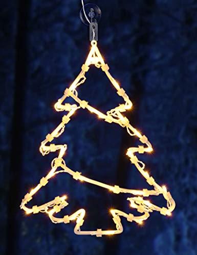 Spetebo LED Fenster Silhouette XXL in 48x42 cm - Tannenbaum - klares, gemütliches Licht - Fensterbild mit Saugnapf und Batterie betrieben mit Dual Timer