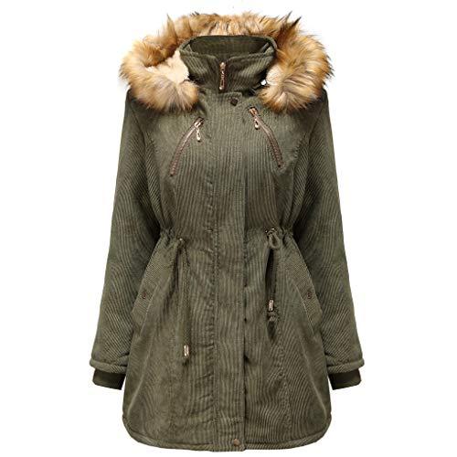 iHHAPY Women's Long Winter Coat Parka Jacket Hooded Winter Jacket Long Cotton Coat Warm Lined with Faux Fur Hooded