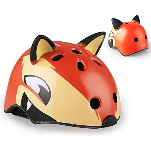 QYWSJ Casque pour Enfants,Dinosaure Cartoon,Requin,Renard,Teddy Bear VéLo Equitation Patinage...
