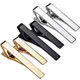 WYZXR Lot de 6 Pinces à Cravate Skinny Tie Bar pour Hommes Bords carrés Tie Tack Cravate Bar Pinch Clips Metal Bar Pin Shirt Wedding Business Obligatoire (Argent/Or/Noir)