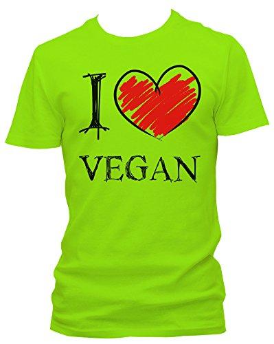 NEON Herren T-Shirt I Love Vegan Fun_neongrün_XXL
