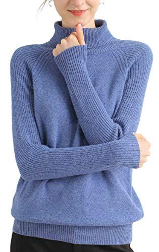 Liny Xin Damen Merinowolle Soft Lightweight Herbst & Winter Warm Strick Rollkragenpullover (M, Blue)