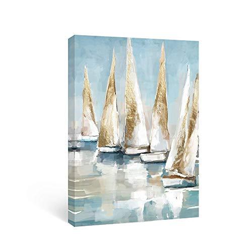 SUMGAR Leinwandbild für den Strand, Motiv: Schiff, Schiff, Schiff, Malerei, nautischer Druck, Boote, Segeln auf dem Meer, dekorative Kunst für Badezimmer, Schlafzimmer, Wohnzimmer, 30 x 40 cm