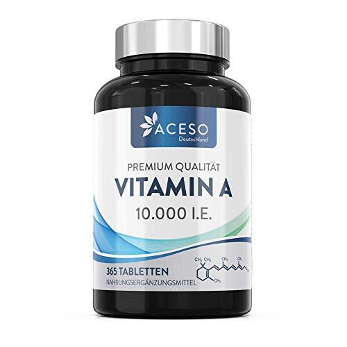 Aceso Deutschland Vitamin A (als Retinylacetat) 10.000 IE (3.000 µg), vegan, 365 Tabletten, 1 Jahresbedarf