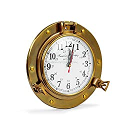 Nagina International 9 Antique Brass Premium Nautical Wall Decor Vintage Time's Clock | Pirate's Porthole Decorative Clock (Franklin & Murphy's Vintage Dial)